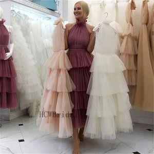 Nuevo vestido de noche larga tuled Tulle Cuello alto Una línea Longitud de té de alta calidad Vestidos de fiesta formales de alta calidad Vestidos de fiesta baratos LJ201125