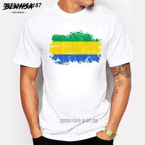 T-shirt para Nostalgic Estilo Homens de manga curta bandeira de Gabon Camiseta Homens Gabão Bandeira Nacional da aptidão Camiseta 5816510 Cotton Verão