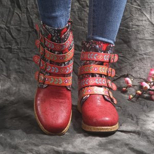 Vintage Red Boots Large Printed European And American Style Leather Boots Female Autumn Winter Ladies Mujer#D3