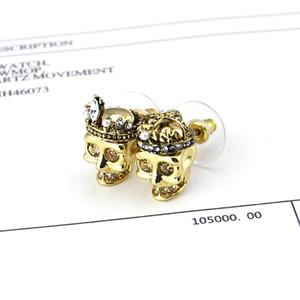 New unique style titanium steel skull steel crown earrings 18K gold black earrings for fashion women earrings nightclub preferred