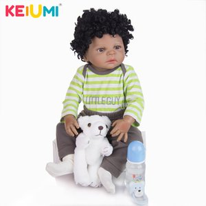 Keiumi Black Skin Ethnic Doll Silicone Full Vinyl 23 '' Impermeable Reborn Baby Doll Menino Toddler Collection Niños Cumpleaños Regalo 201030