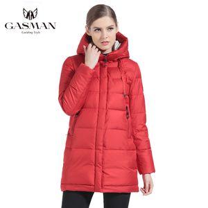 Gasman 2019, tüy marka, orta uzunlukta, kadın, kalın, Hoodie, parka, mont, kadın beyaz elbise, kış
