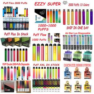 Bang XXL Puff Bar Plus Flow Max Air Bar Lux PP Extra 800 1000 1500 1600 2000 2200 Taucher Einweg-Vape Pen Puff Flex Biene 18 Starter Kit