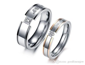 Rings for Women Wedding Men's Rings Fashion Jewelry Punk Style OR Womens Gold 316L Stainless Steel Lover's CRYSTAL Couples Ri