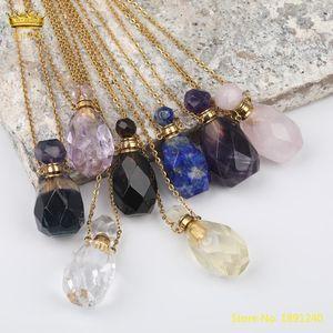 Natural Lemon Quartz Perfume Bottle Pendant Necklace Fashion Women Crystal Stone Gold Stainless Steel Chains Jewelry DSS-265KBBE