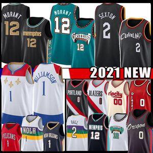 Collin 2 Sexton Ja 12 Morant Zion 1 Williamson Damian 0 Lillard 2021 New Basket Ball Basket Jersey Lonzo 2 Ball Carmelo 00 Anthony Jerseys Mens