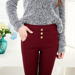 autumn spring office lady OL pants button and pocket fashion casual pencil leggings black pink purple red slilm fitted legging