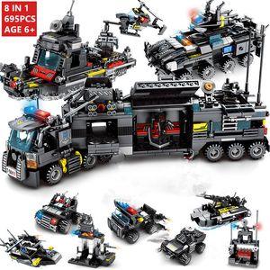 8pcs / set 695PCS City Police Station Car Blocos de Construção da Cidade da equipa SWAT Caminhão de Blocos de plástico Technic DIY Assembléia Tijolo caçoa o presente 1008