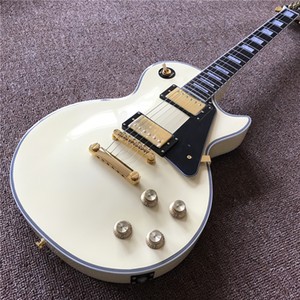 High Quality Custom Electric Guitar in Cream Color with 2 pickups, rosewood fingerboard with gold color hardware guitarra