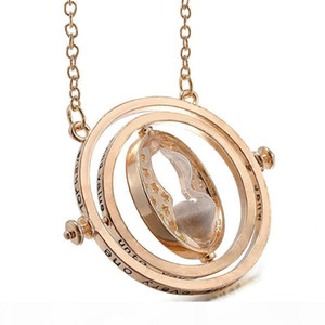 Wholesale- Hot Selling Gold Plated Harry Necklace Potter Time Turner Necklace Rotating Spins Hourglass Pendent Jewelry for Unisex