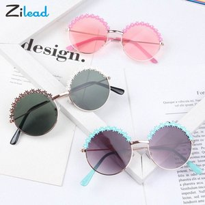 Zilead niños de Marco redondo de las gafas de sol metálico personalizado de la niña de la moda gafas de sol de la sesión fotográfica de la sombrilla de playa Lentes qe05 #