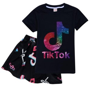 Tik Tok new Set For Big Boy Girl Tracksuit Clothes Autumn Winter Tiktok Kid Hooded print Sweatshirt+dress2PC Sport Suit 12 colors