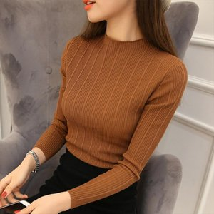 New High Quality Autumn Winter Women Sweater Pullovers Knitwear Solid Half Turtleneck Long Sleeve Sexy Slim Chandail Femme