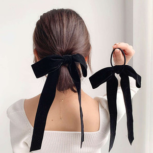 Estilo francés Languen Cinta Velvet Butterfly Rope High Elastic Hair Band Winter Korean Horquilla