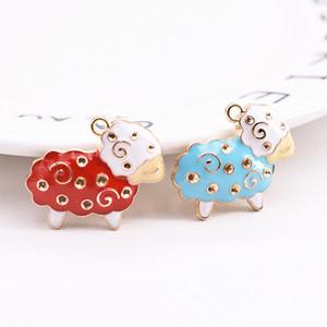 100pcs Esmalte encantos Sheep Gold Tone Pendant For Women Handbag Colar Decor DIY Alloy Finding pulseira Chaveiro Acessório