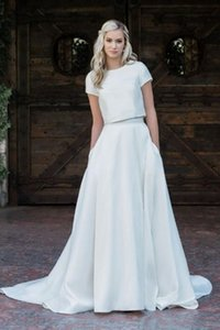 0-Neck A Line Wedding Dresses with Pockets Buttons Sweep Train Satin Bride Gowns Buttons Back Two Pieces Vestidos De Novia