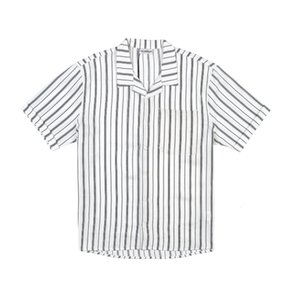 Mens stripe Polos shirt Rice whiteloose metal buckle Print Cotton Round Neck black T-Shirt A basic