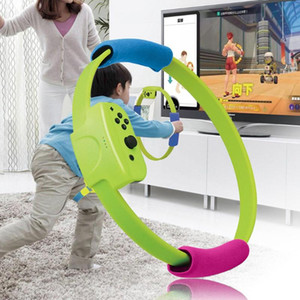 Mini Ring Pilates Circle with Ring Grips Adjustable Elastic Leg Strap 40cm for Switch Joy-Con Fit Adventure