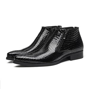 Men winter Boots Genuine cow leather boots brogue casual ankle flat shoes Comfortable quality zipper dress boots