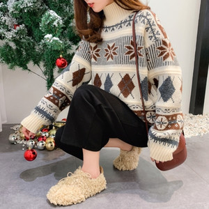 Retro autumn and winter knit pullover new Korean loose sweater women's jacket Long sleeve turtleneck 201023