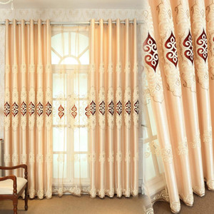 European Style Embroidery Curtains Classic Craftsmanship Heavy Fabric Window Curtain for Bedroom Living Room Luxury