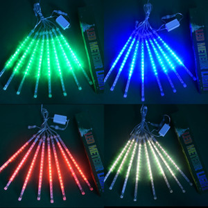Meteor Shower Rains Light LED Tree Water Proof Lights 8 String Birthday Party Decorations Lamp Suit Quadrilateral Red Glows Outdoors 40hx L2
