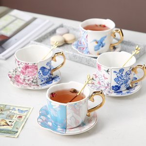 MUZITY Cerâmica Forma Tea Cup Set Irregular porcelana copo de café e pires com Golden Spoon 250ml
