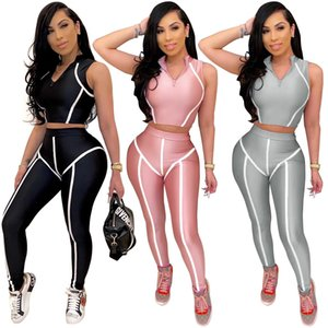 New women's sleeveless pants tight sports Yoga splicing stripe suit