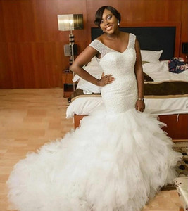 2021 Nigeria African Mermaid Wedding Dresses V Neck Heavy Beading Tiered Ruffles Brdal Gowns Court Train Vestidos De Novia Plus Size