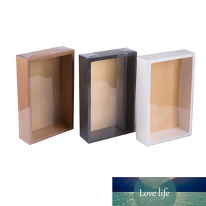 20pcs White Black Kraft Paper Box with PVC Cover Cake Cookie Jewelry Display Box Candy Packaging Box