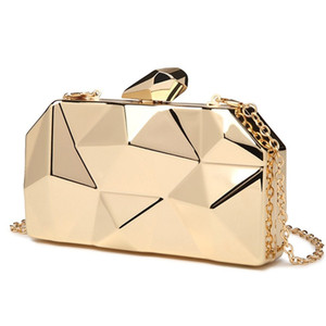 Gold Acrylic Box Geometric Evening Clutch bags Elegent Chain Women Handbag Party Shoulder Bag For Wedding Dating Party Q1106
