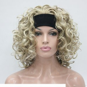 HIVISION Hot Super Sexy Light Blonde Mélangez 3 4 Perruque avec bandeau Moyen Curly Half Wig Wig