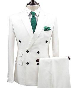 White Men Suit Peak Lapel Mens Suits Slim Fit 2 Pieces(Tuxedos Jacket+Pants) Wedding Groom Tuxedos Prom Suit Party Custom Made