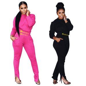 أزياء المرأة رياضية رسالة طباعة الصلبة اللون طويل الأكمام قمم المحاصيل + سروال قطعتين مجموعة اللباس خريف وشتاء بدلة رياضية أفضل