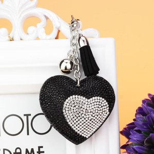 Two-tone Heart Crystal Key Chains With Leather Tassel Women Handbag Charms Pendant Keychain Man Car Key Rings Accessory TZ127