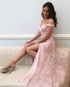 Pink Off Shoulder Mermaid Evening Dresses Side High Slit With Lace Appliques Long Prom Party Dress Teen Girls Formal Gowns Robe de soriee