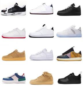2021 Kuvvetler Erkekler Düşük Kaykay Ayakkabıları Ucuz Bir Unisex 1 Örgü Euro Yüksek Kadınlar Tüm Beyaz Siyah Kırmızı Deri Trainer Sneaker 36-45 # 58 F7UA #