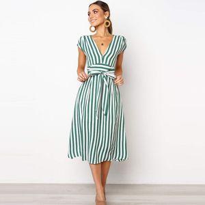 Lossky Summer Women Stripe Long Dress Sexy Deep V-neck Elegant Ladies Dresses 2020 Womens Clothing Midi Dress For Women Casual J1215
