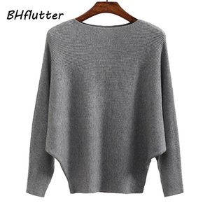 BHflutter Sweater Mulheres Slash pescoço malha blusas de inverno Tops Feminino Batwing Cashmere Casual Pull Pullovers Jumper Femme 2019 201023