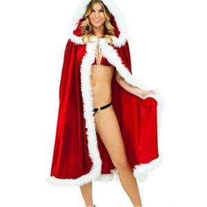 3size Красный бархат с капюшоном Cape плаща Sexy Santa Косплей Рождественские костюмы Женщины Карнавал партии Clubwear Зимний Теплый Шинель GGE1871