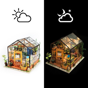 Robotime 14 Kinds DIY House with Furniture Children Adult Miniature Wooden Doll House Model Building Kits Dollhouse Toy DG Y200413