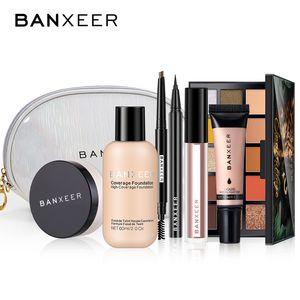 Conjuntos de maquiagem Banxeer Fundação Fundação Fundação Solta Pó Eyeliner Lipgloss Highlighter Saco Saco Cosmético