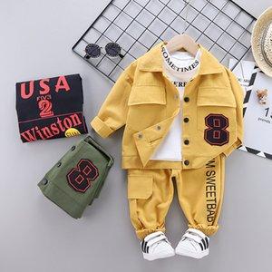 SUPPORT DE SUPPORT ET AUTOMNE ENFANTS Costume Trois pièces Suit Support Baby Casual T-shirt à manches longues de haute qualité + Pantalon bébé garçon en tissu Q0109