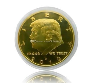 2019 Donald Trump Commemorative Coin American President avatar Gold Coins Silver Badge Craft Collection Acrylic packaging DHL fast Shipping