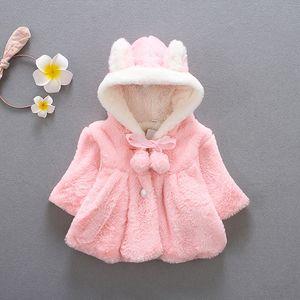 Bunny Jacket Wool Baby Jacket Clothes Winter Newborn Baby Girls Jacket Warm Windbreaker For Kids Coat Cloak Children Clothes
