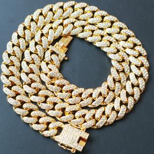 Nuovo venditore caldo 20mm Iced Out Zircone Collana cubana Collana Catena Hip Hop Jewelry Monili di rame Materiale di rame CZ CHIUSSA Mens Collana Collana Link 18-28inch 91 L2