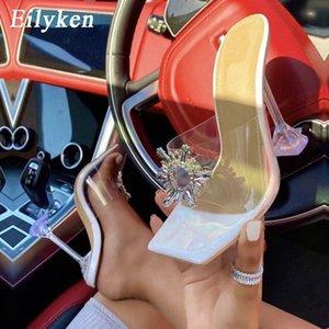 Eilyken 2021 Fashion Sun Crystal PVC Pantofole trasparenti Donne Open Toe Tacchi alti Perspex Clear tazza tacco scarpe sandali argento # vk9j
