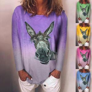 Woman Tshirts Harajuku Tshirt Women Plus Size Long Sleeve Donkey Printed O Neck Tee T Shirt Tops Women 2020 mujer camisetas
