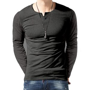 Mens Button Slim Fit Tshirt Spring Autumn Solid Color Pullover Top Male Sport Tshirt