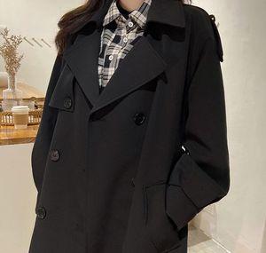 Hotsale fashion women spring long light trench coat warm lapel female windbreaker long sleeve lady casual stock y788